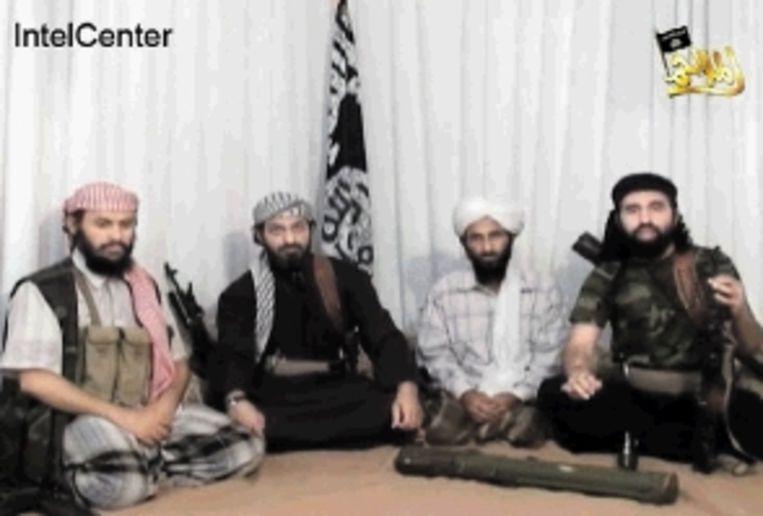 Al-Wahasji (midden rechts) en Al-Sjihri (midden links). (FOTO EPA) Beeld EPA