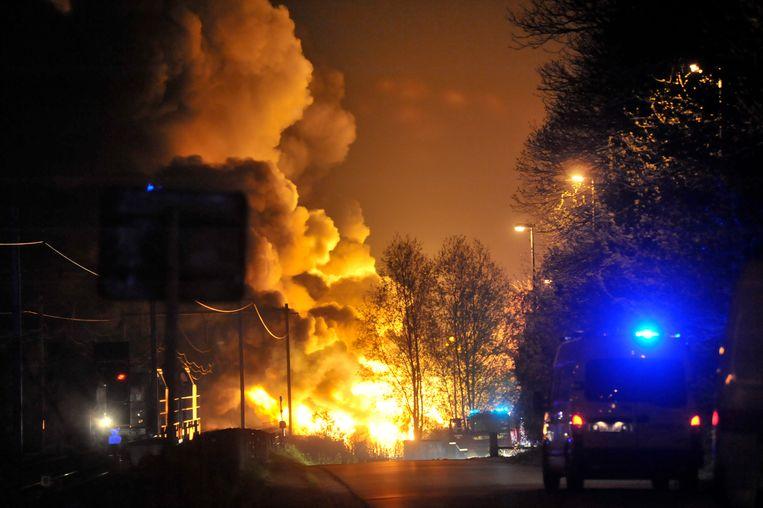 In Wetteren ontspoorden op 4 mei 2013 wagons met chemische producten en vatten vuur.