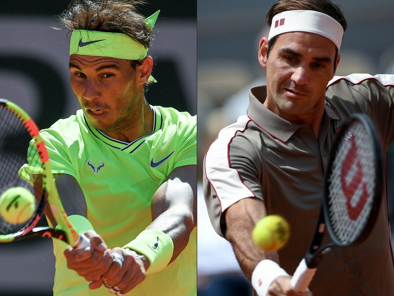Rafael Nadal (l.) verloor nog nooit van Roger Federer in Parijs. Beeld AFP