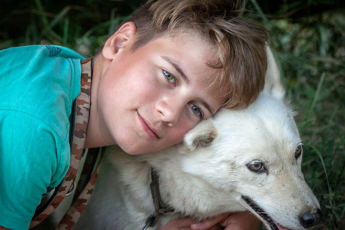 Olav met husky, tijdens de laatste vakantie in Zweden