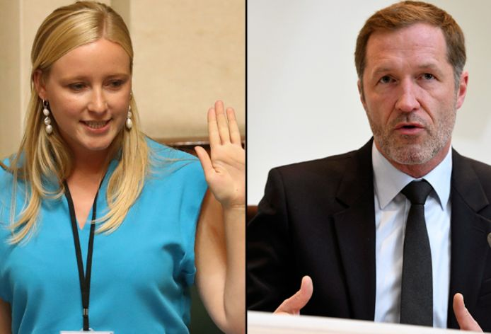 Sp.a-Kamerlid Melissa Depraetere en PS-voorzitter Paul Magnette.