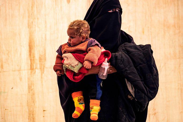 Een vrouw in het kamp Al Hol in Syrië.