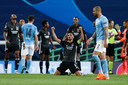 Olympique Lyon juicht nadat Manchester City is uitgeschakeld.