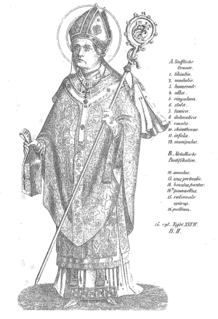 19de-eeuwse afbeelding van een bisschop met buidelboek in de hand. Beeld .