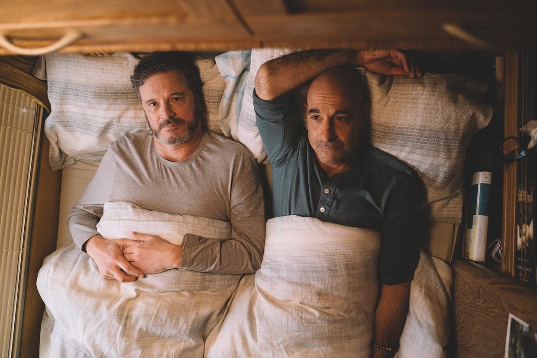 Colin Firth (links) en Stanley Tucci als geliefden in Supernova.  Beeld