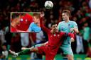 Cristiano Ronaldo en Matthijs de Ligt. 'Ik zie je na de vakantie', lijkt de Portugees te zeggen.