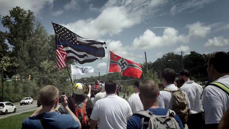 Extreemrechtse betogers van de alt-rightbeweging.  Beeld rv