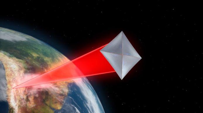 ... en katapulteert de sonde de ruimte in.