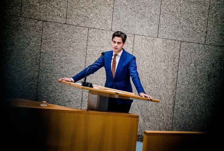 Rob Jetten (D66) in de Tweede Kamer tijdens een debat over de avondklok.  Beeld ANP
