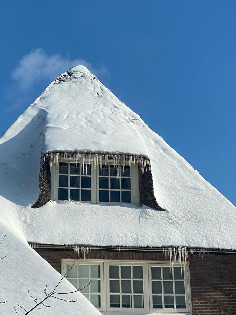 In dit huis in Velp hangen ijspegels na de koude nacht. Beeld Rijk van den Broek
