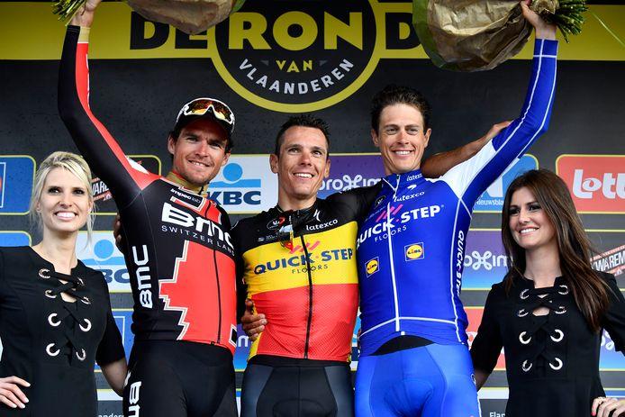 Comme Sean Kkelly, Greg Van Avermaet est monté à trois reprises sur le podium du Tour des Flandres, mais jamais sur la plus haute marche.