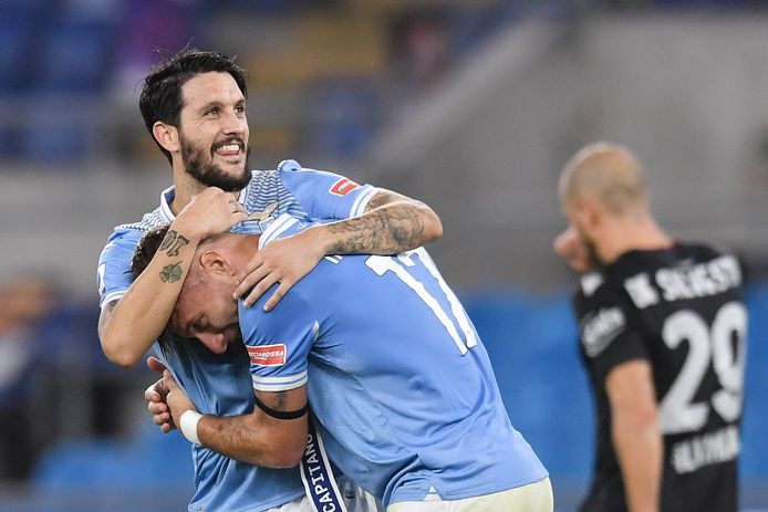 Luis Alberto en Immobile tijdens de wedstrijd tegen Bologna van afgelopen weekend.