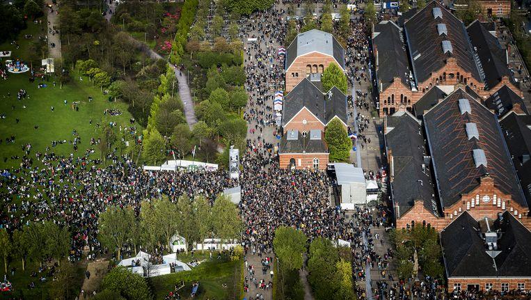 Het bevrijdingsfestival in Amsterdam vanuit de lucht. Beeld anp