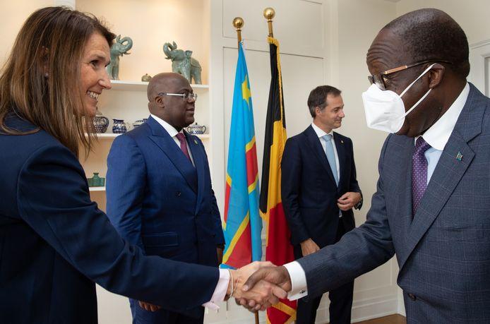Minister van Buitenlandse Zaken Sophie Wilmès, de Congolese president Felix Tshisekedi,premier Alexander De Croo en de Congolese minister van Buitenlandse Zaken Christophe Lutundula Apal tijdens een bijeenkomst in New York.