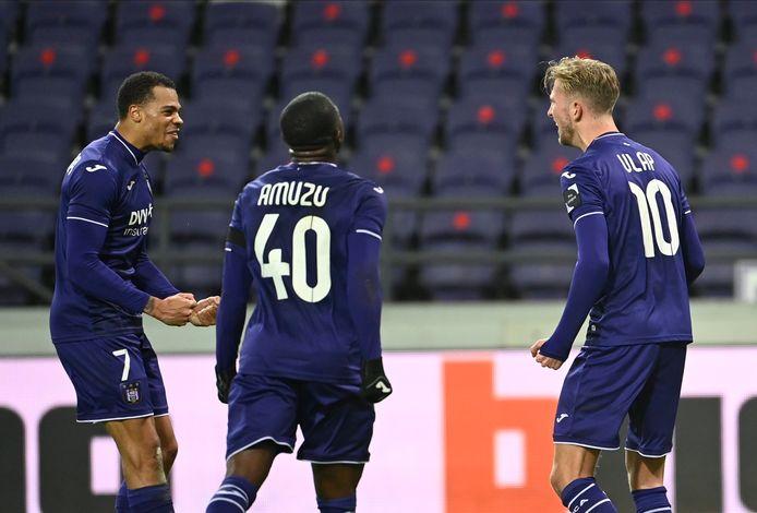 Nmecha, Amuzu en Vlap: de drie doelpuntenmakers bij paars-wit vanavond.