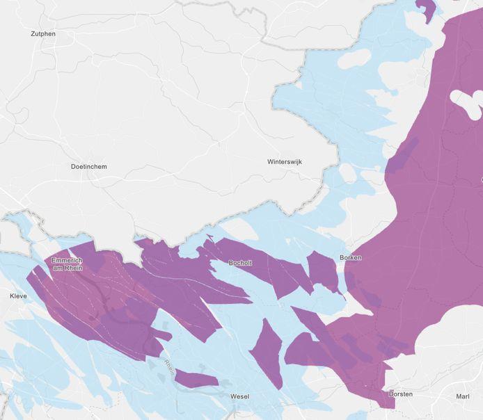 De lichtblauwe en paarse gebieden op deze kaart, grenzend aan de Achterhoek, komen volgens de Duitse overheid in aanmerking om te zoeken naar plekken voor de opslag van radioactief afval.