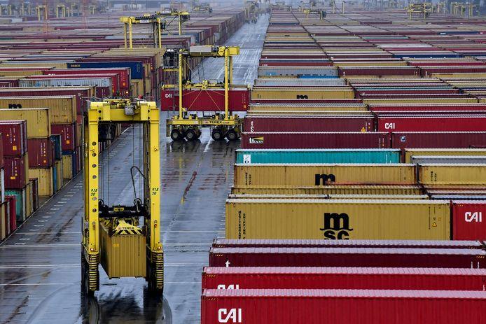 De MPET-containerterminal in de Antwerpse haven.