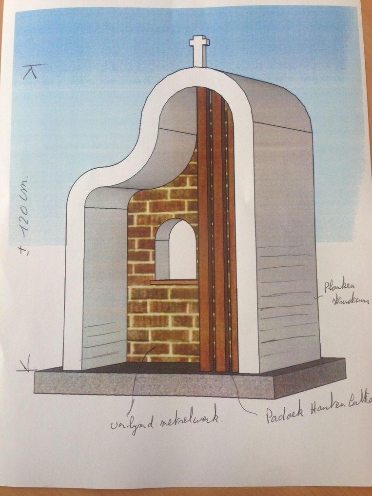 Een schets van de nieuwe niskapel die de leerlingen van het VTI in Deinze zullen bouwen.