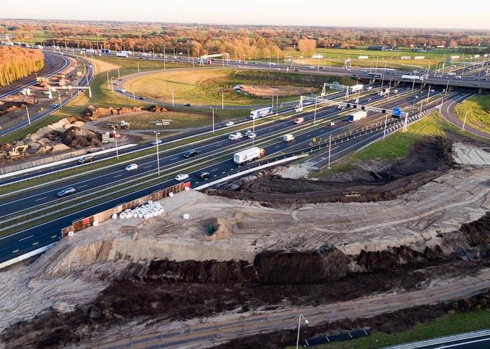 De werkzaamheden aan de A1. Foto: Wilbert Bijzitter