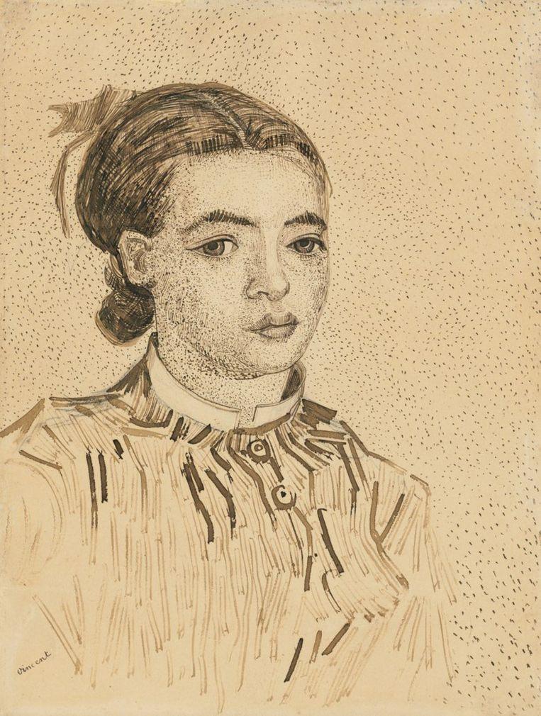 Schets van Van Gogh, La Mousmé, een tekening van een meisje. Beeld Christie's