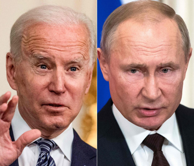 De presidenten Biden (links) en Poetin.  Beeld AFP