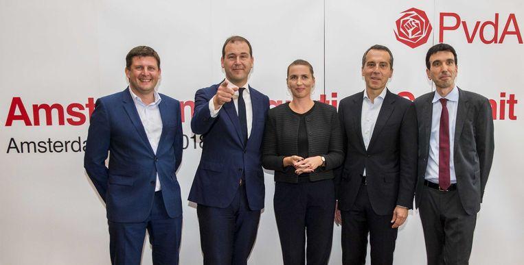 Toenmalig PvdA-leider Lodewijk Asscher bij een migratietop in 2018 met onder meer de Deense minister-president Mette Frederiksen (midden). Beeld ANP