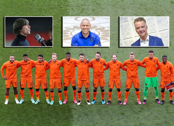 Oranje voor het treffen met Tsjechië. Inzetjes: Joachim Löw, Nico-Jan Hoogma en Louis van Gaal.