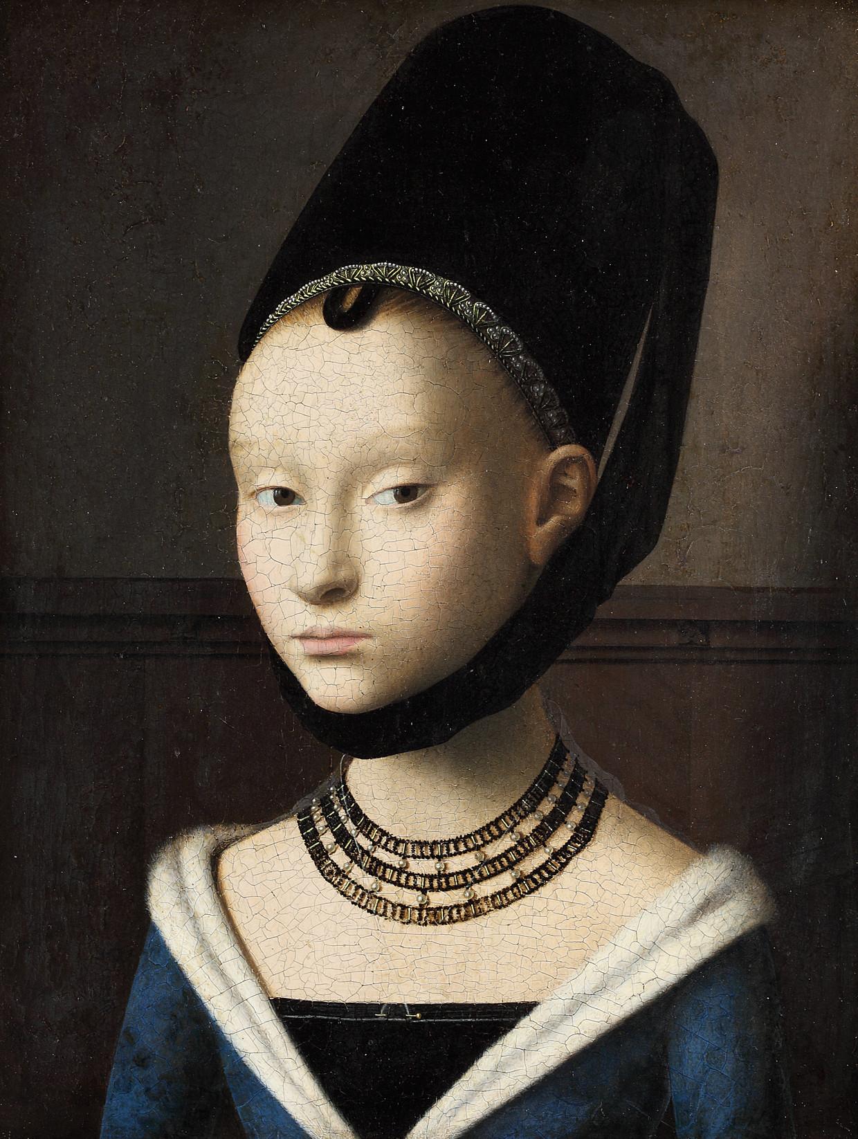 Petrus Christus, Portret van een jonge vrouw, ca. 1470. Gemäldegalerie der Staatlichen Museen zu Berlin. Beeld Gemäldegalerie der Staatlichen Museen zu Berlin