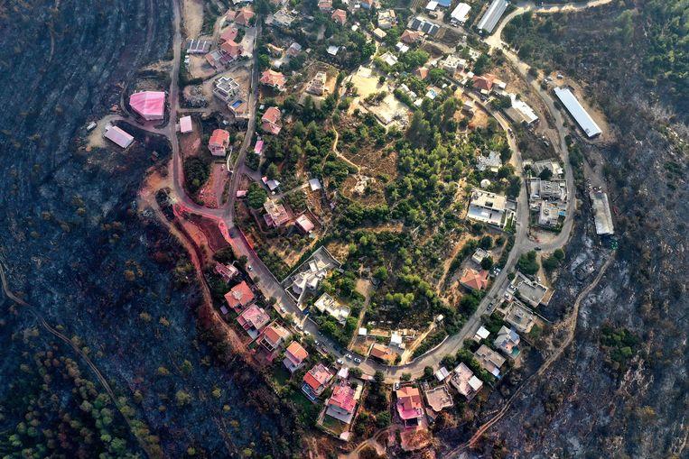 Een luchtbeeld toont afgebrand bos rond Givat Yearim, op zo'n 8 kilometer van Jeruzalem. Beeld AFP