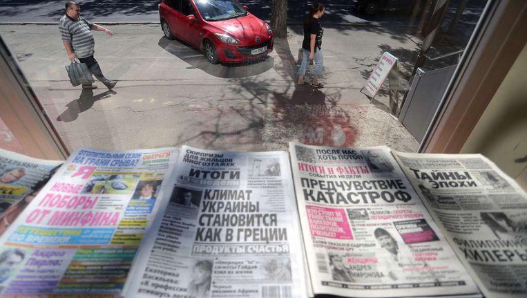 Russischtalige kranten in het pro-Russisch rebellengebied in Oekraïne. Beeld afp