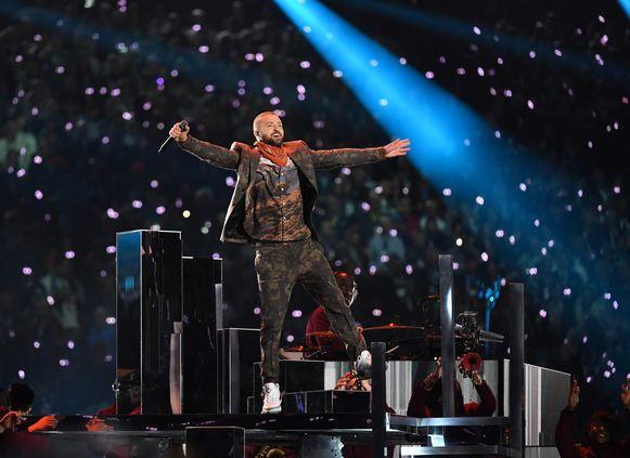 Justin Timberlake tijdens zijn optreden in de Half-Time tijdens de Superbowl.