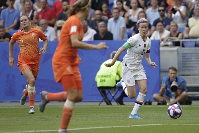 Megan Rapinoe zorgde in haar derde WK-finale geregeld voor averij op haar linkerflank.