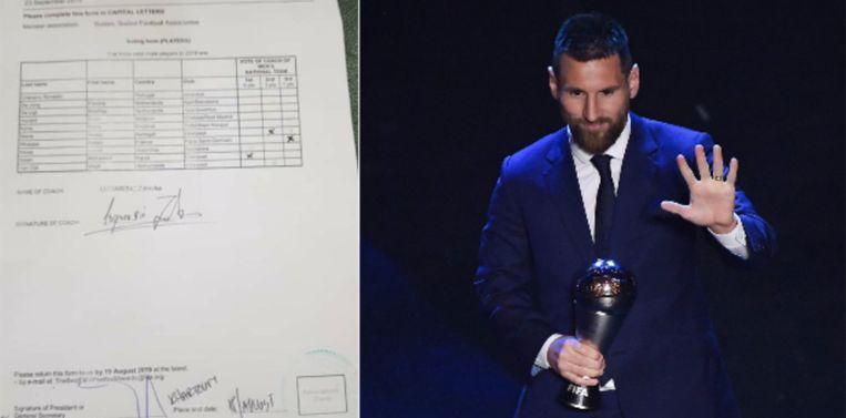 Links het stembulletin, rechts de trofee voor Messi.
