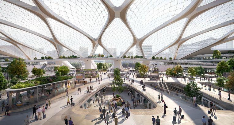 Artistieke voorstelling van een station voor de Hardt Hyperloop Beeld UNStudio