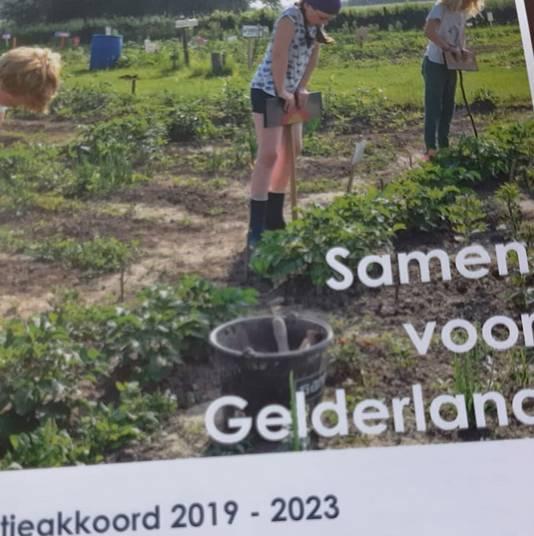 Het voorblad van het Gelderse coalitieakkoord 2019-2023.
