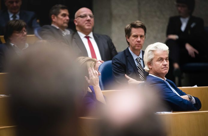 De fractie van de PVV in de Tweede Kamer tijdens stemmingen.