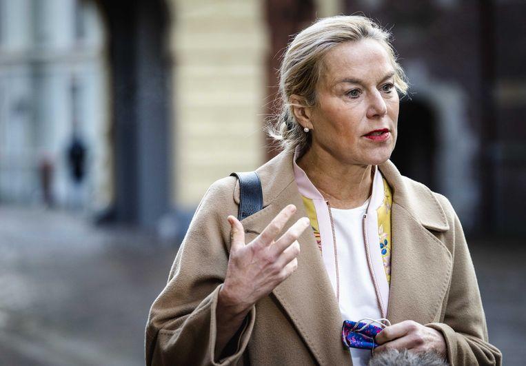 Sigrid Kaag, minister voor Buitenlandse Handel en Ontwikkelingssamenwerking, staat de pers te woord op het Binnenhof voorafgaand aan de wekelijkse ministerraad.  Beeld ANP