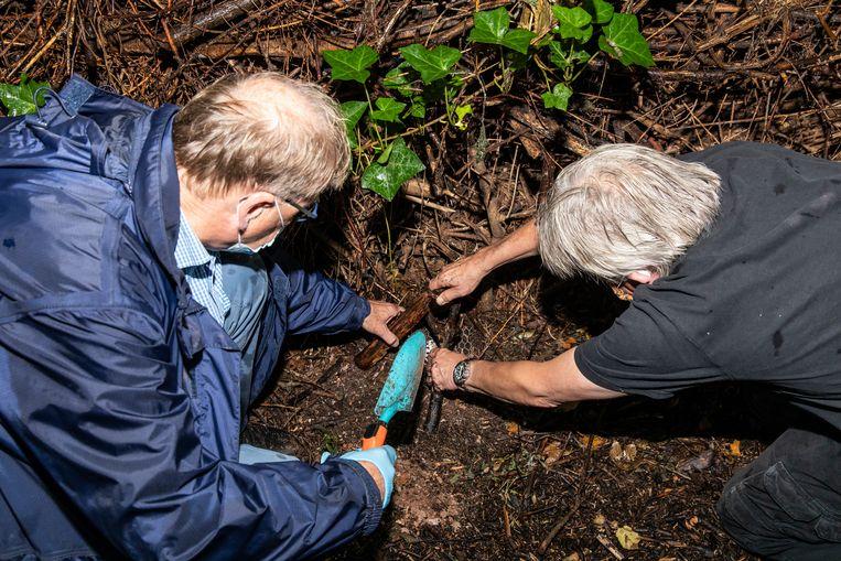 Vrijwilligers plaatsen insectenvalletjes in buurttuin Slatuinen. Beeld Dingena Mol