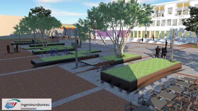 Artist impression van het nieuwe Raadhuisplein, met rechts in beeld het raadhuis. Dat wordt sinds februari verbouwd.