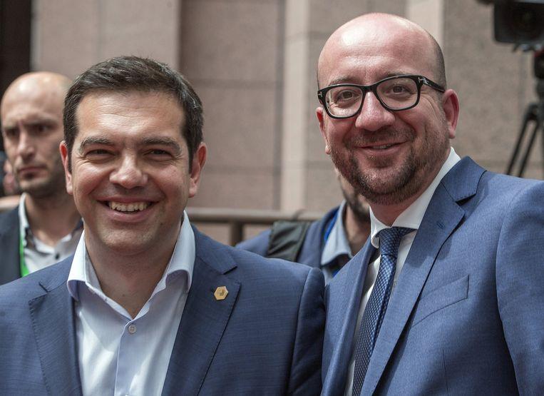Alexis Tsipras en Charles Michel op de eurotop van 26 juni. Beeld REUTERS