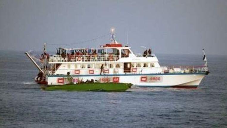 Een van de schepen van het door Israël onderschepte hulpkonvooi voor de Gazastrook. ANP Beeld