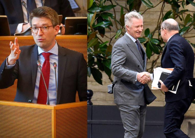Waals minister Pierre-Yves Dermagne (PS) (l) en Koen Geens op audiëntie bij de koning.
