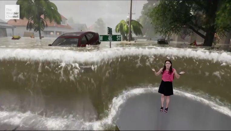 Augmented reality in het weerbericht. Beeld The Weather Channel
