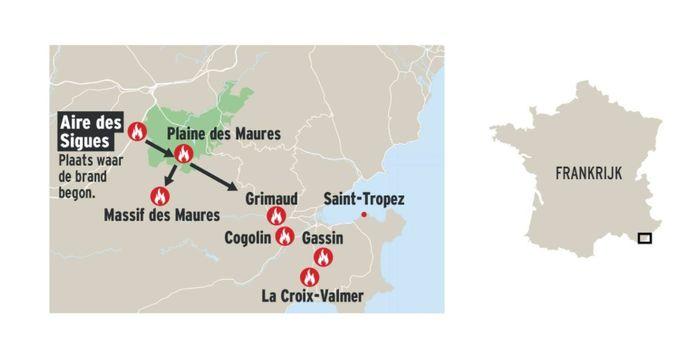 Overzicht van de plaatsen waar de bosbranden in Zuid-Frankrijk woeden.