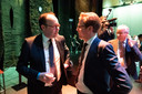 Provinciebestuurders Martijn van Gruijthuijsen (links) en Christophe van der Maat, beiden VVD.