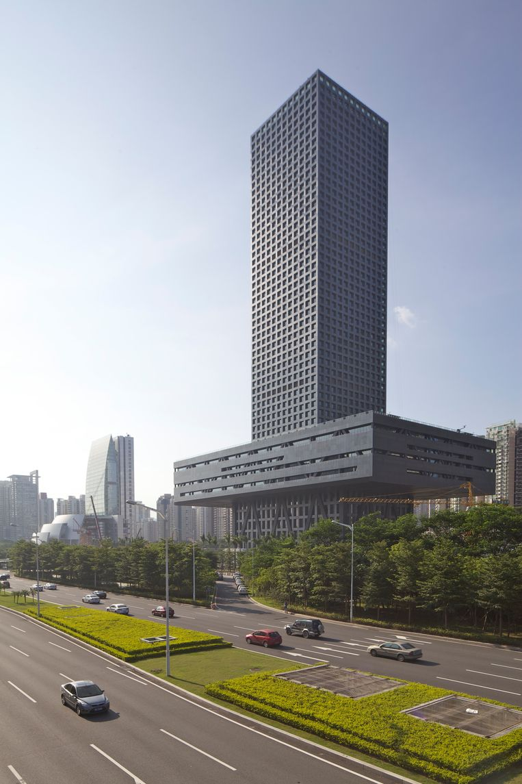 Het beursgebouw van Shenzhen. Beeld null
