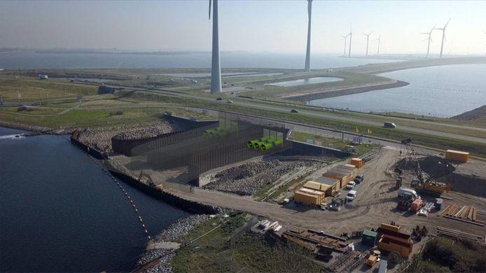Artist's impression van de Climate Power Plant Zeeland in de Grevelingendam