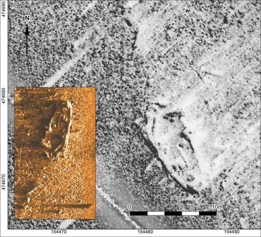 Met behulp van sonar zijn de vele wrakken in het Eemmeer in kaart gebracht.