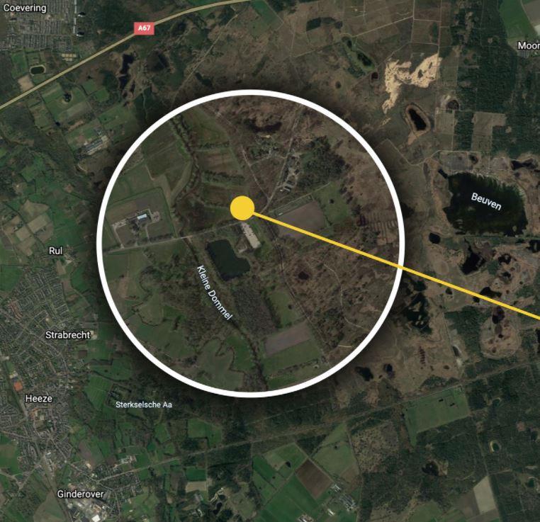 Het gebied op de Strabrechtse Heide waar de politie een zoekactie houdt.