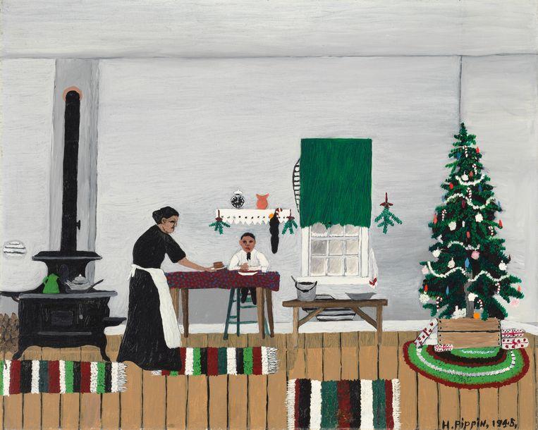 Horace Pippin, 'Christmas Morning, Breakfast' Beeld Cincinnati Art Museum